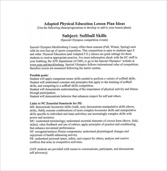 adoptive physical education lesson plan free pdf