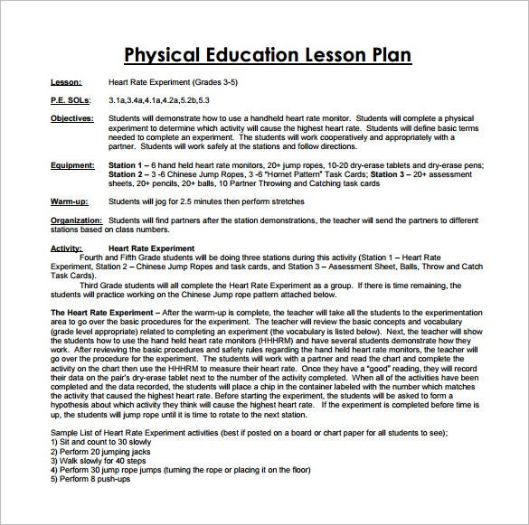 Physical Education Lesson Plan Template 8 Free Sample Example