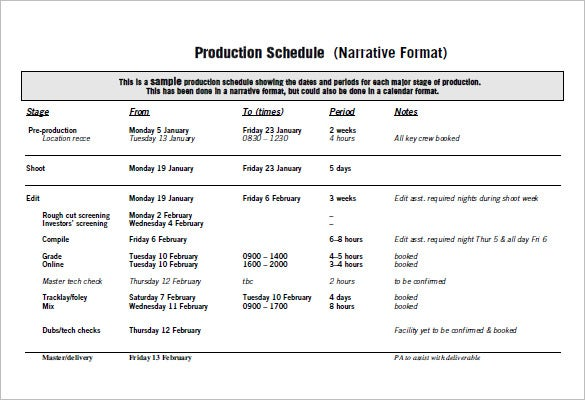 Example production schedule seroton. Ponderresearch. Co.