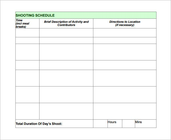 Production schedule template pronofoot35fo Image collections