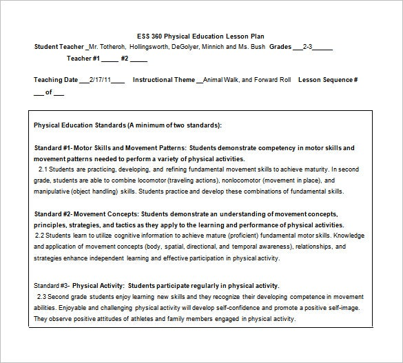 ess 360 physical education lesson plan free word
