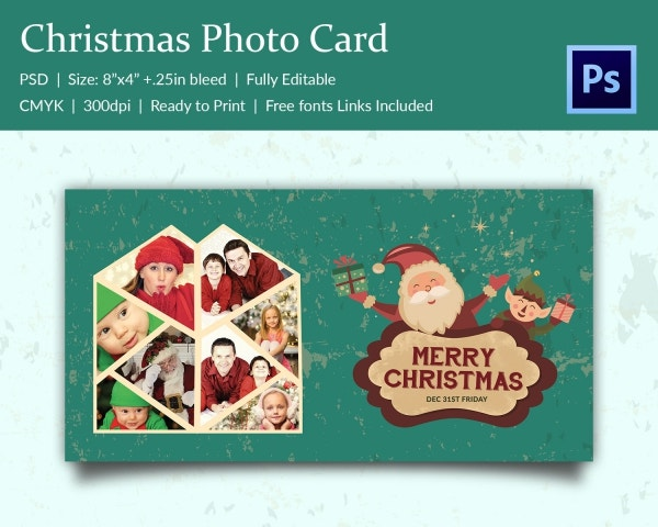 merry christmas holiday couple photo card template