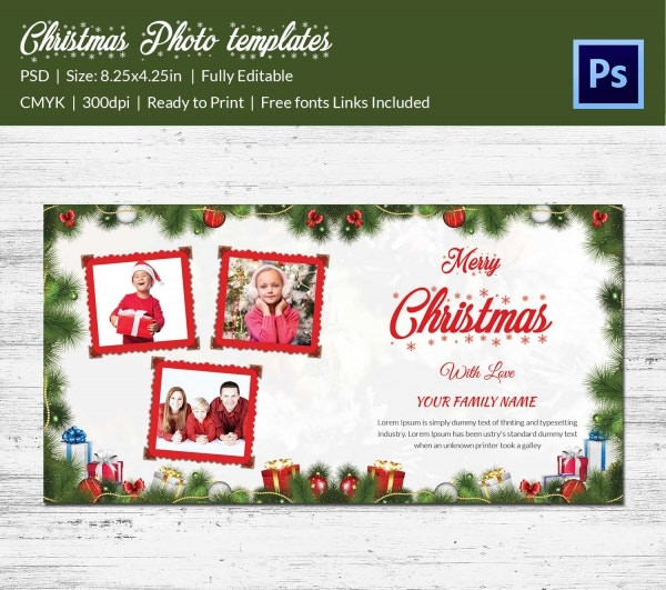 lovely christmas photo postcard template psd