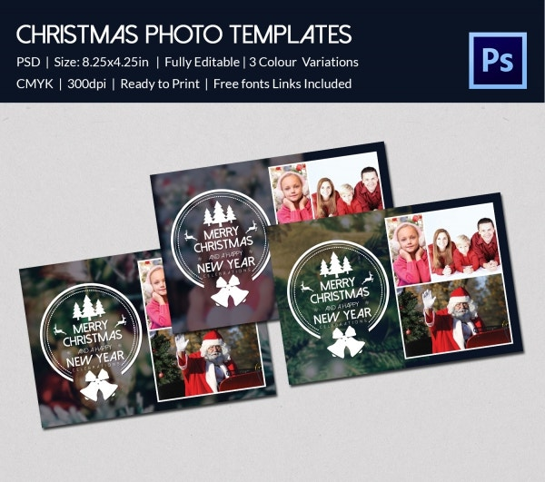 christmas wishes collection photo card template