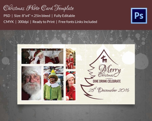 christmas dine drink celebration photo card