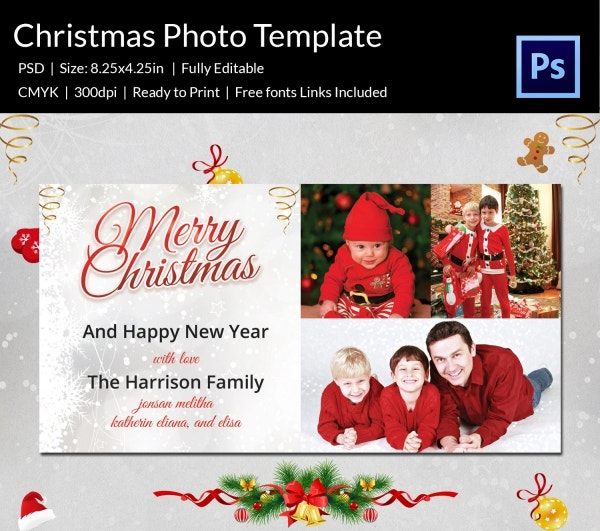 family christmas celebrations photo card template