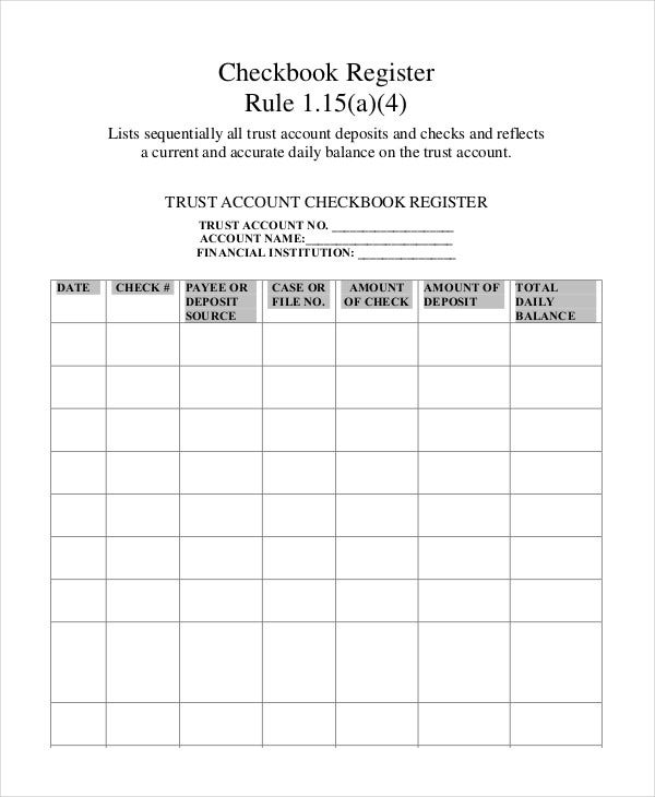 Sample Check Register Template   Free Sample Example Format