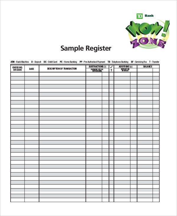 sample check register Sample Check Register Template - 10  Free Sample, Example, Format ...