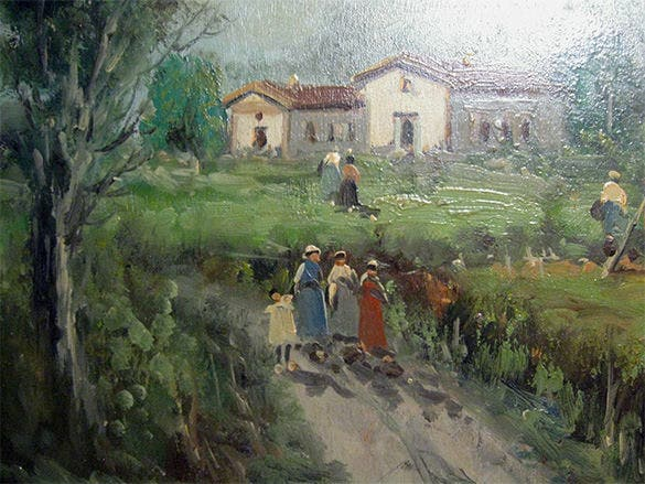 farm scene vintage oil painting