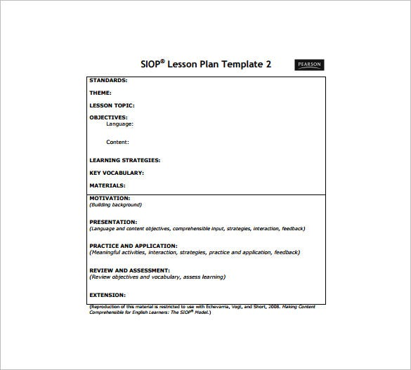 Siop Lesson Plan Template - Free Word Pdf Documents Download