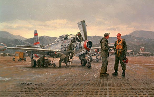 fighters on a mission vintage oil painting