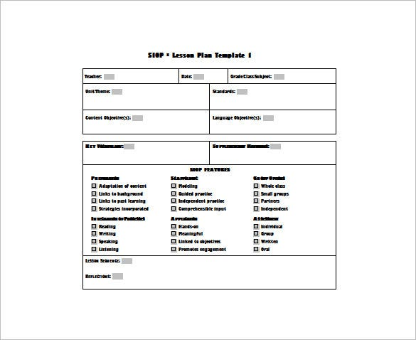 Siop Lesson Plan Template   Free Sample Example Format