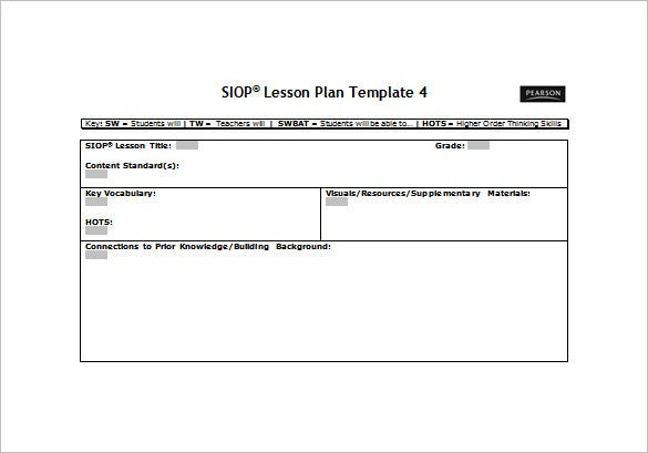 SIOP Lesson Plan Template Free Sample Example Format - Blank lesson plan template for physical education