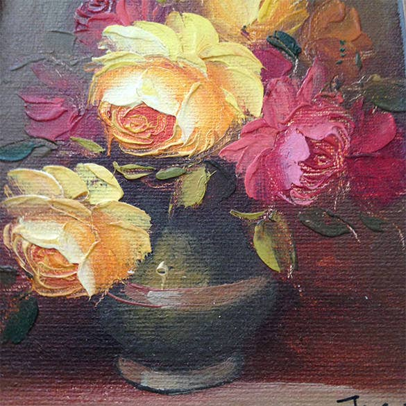 vintage rose flowers oil painting