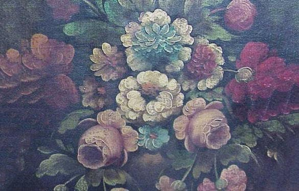 vintage oil painting of canvas flowers