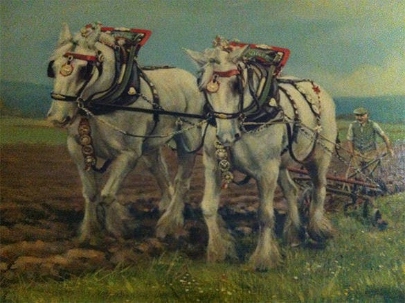 vintage oil painting of working horses