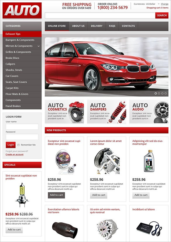 auto spare online store virtuemart theme