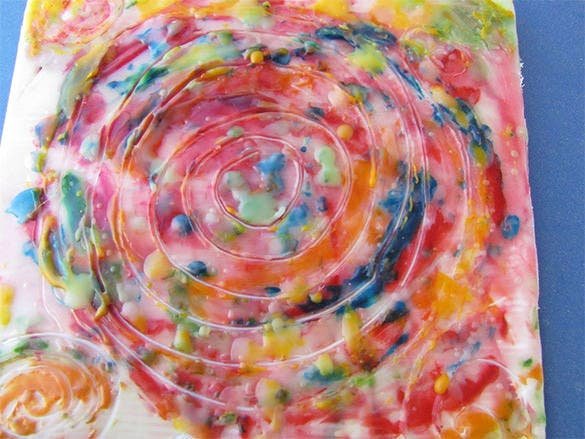 spiral encaustic modern pop wax painting