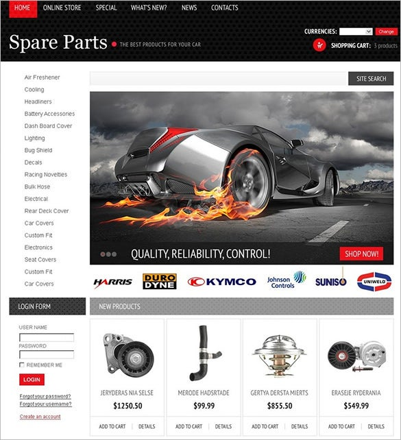 spare parts virtuemart theme