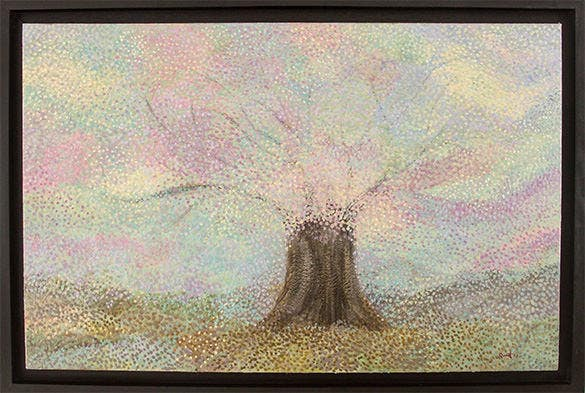 blossoming tree encaustic painting