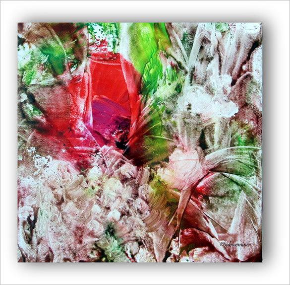 floral encaustic painting