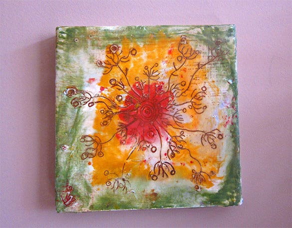 warm yellow encaustic painting
