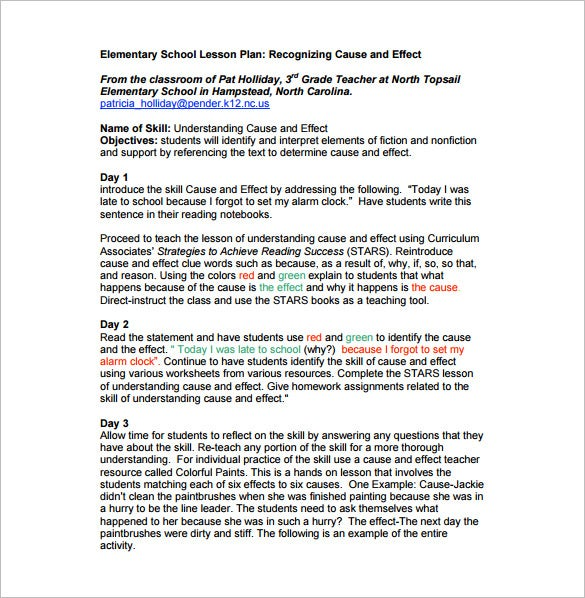 teachers elementary school lesson plan free pdf template