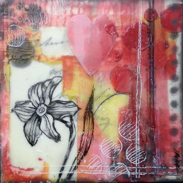 elegant daffodil encaustic painting