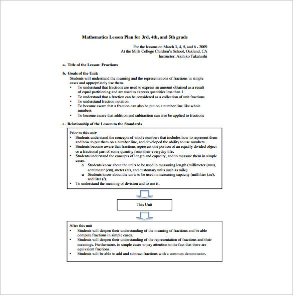 free elementary math lesson plan pdf download