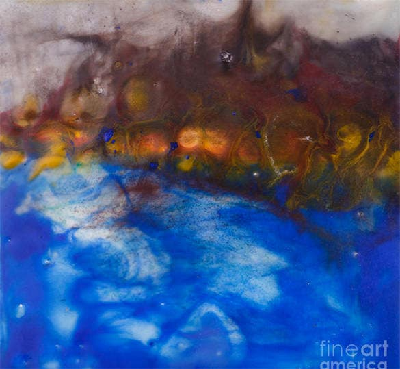 excellent ocean encaustic painting