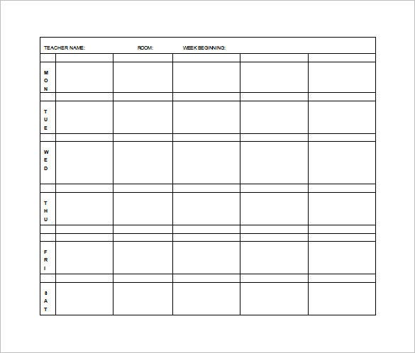 weekly elementary lesson plan free word template