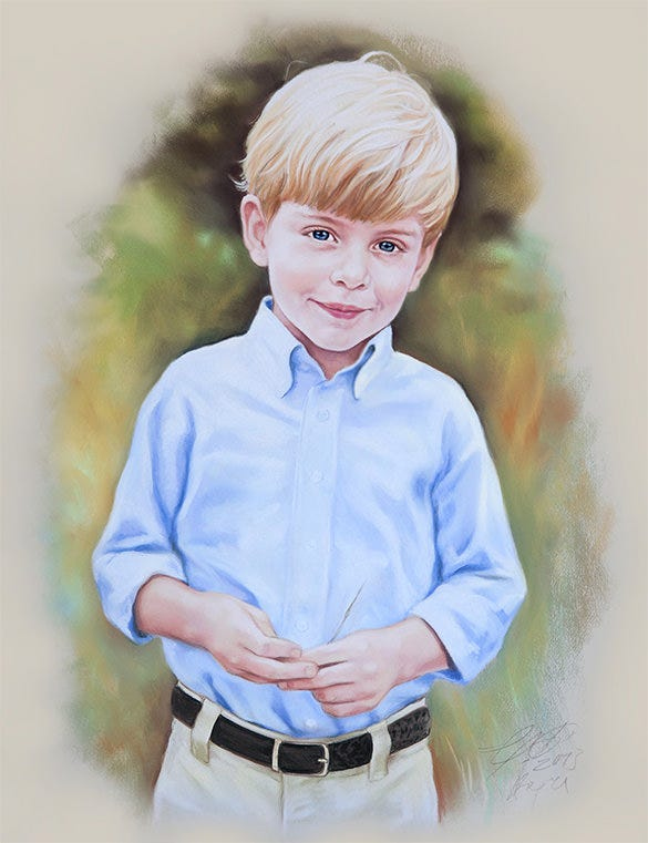 pastel painting of a boy
