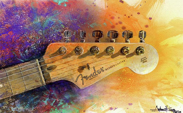 astonishing fender head pastel painting