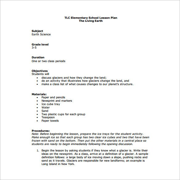 Elementary lesson plan template 10 free sample example for New york state lesson plan template