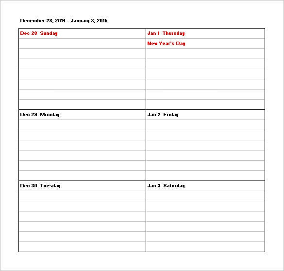 free download weekly calendar schedule template with holiday