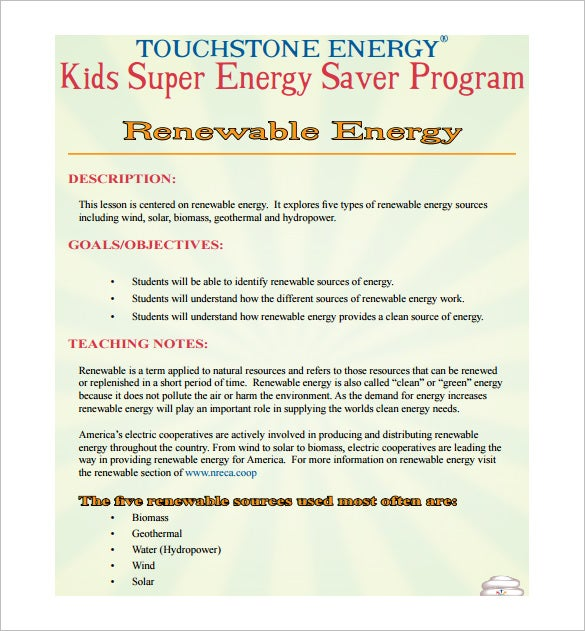 renewable energy elementary lesson plan free pdf template