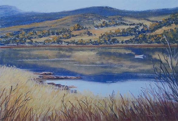river landscape pastel painting download