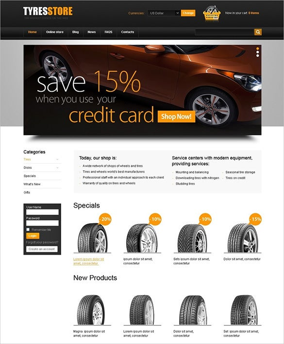car tyre virtuemart template