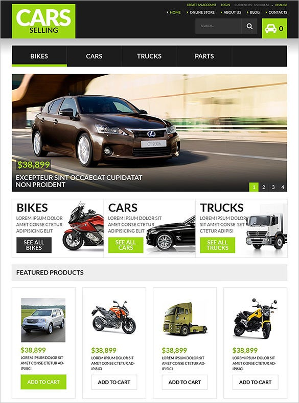 cars selling virtuemart theme