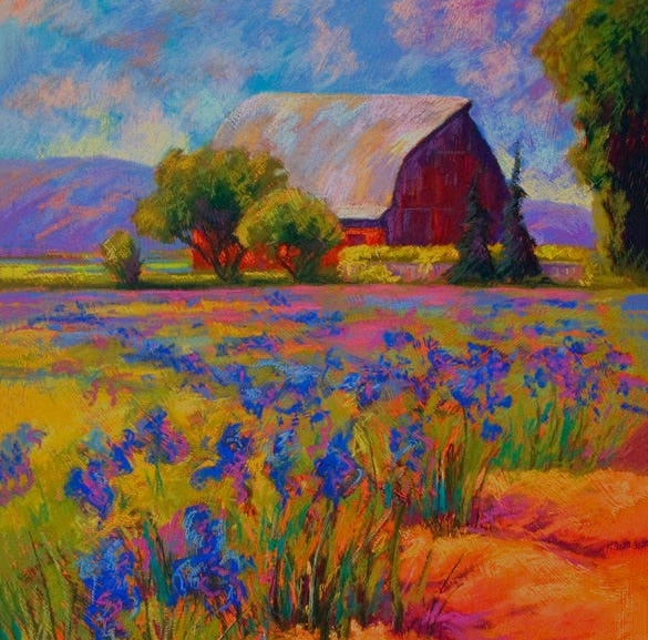 iris field pastel painting download