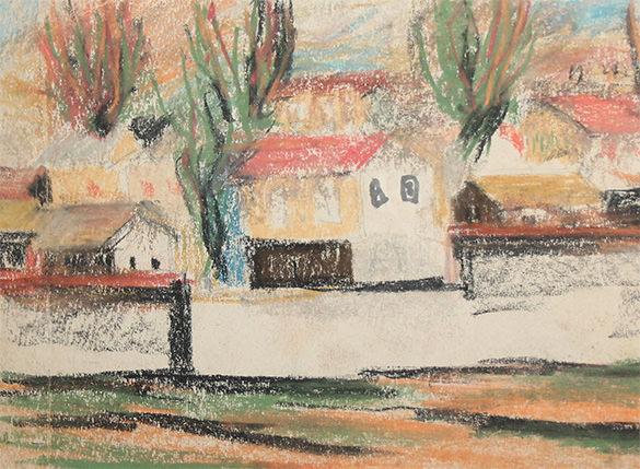 vintage village landscape pastel painting