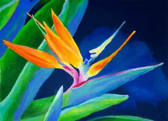 bird of paradise pastel painting
