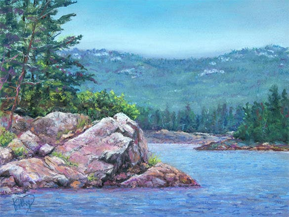 bay of islands pastel painting