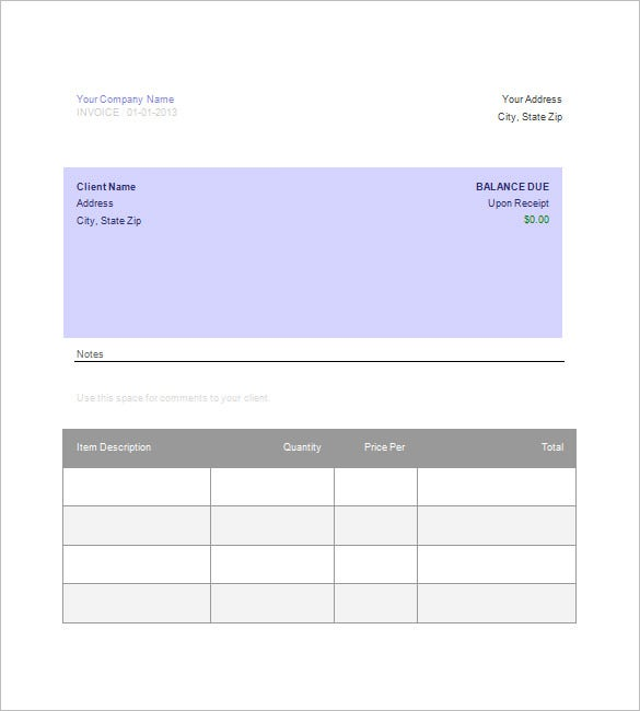 Google Invoice Template Free Word Excel PDF Format Free - Word templates for invoices