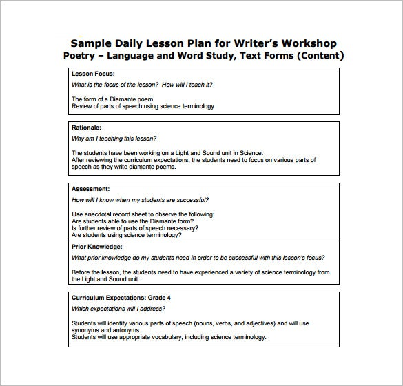 Ordinaire Free Daily Lesson Plan For Writeru0027s Free PDF Format Template