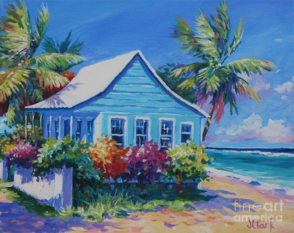 blue cottage on the beach pastel painting
