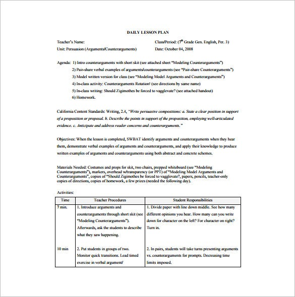 Daily Lesson Plan Template 9 Free Word Excel Pdf Format