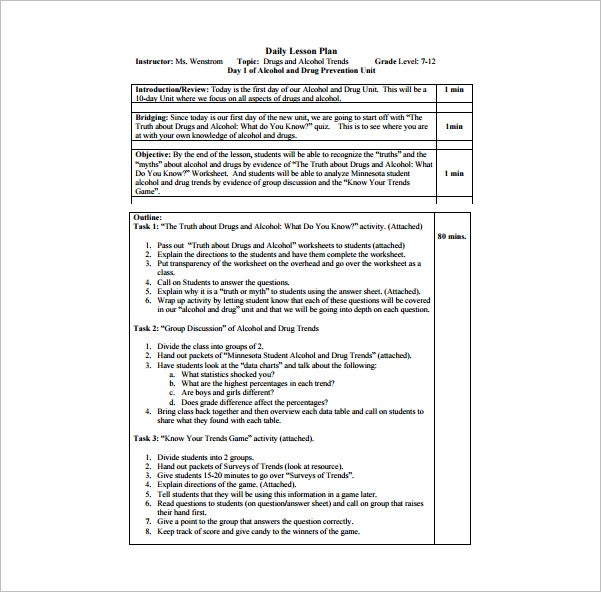 Daily Lesson Plan Template 12 Free Sample Example Format