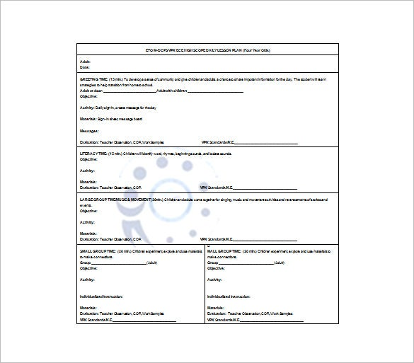 Daily lesson plan template first grade lesson plans plan for Daily five lesson plan template