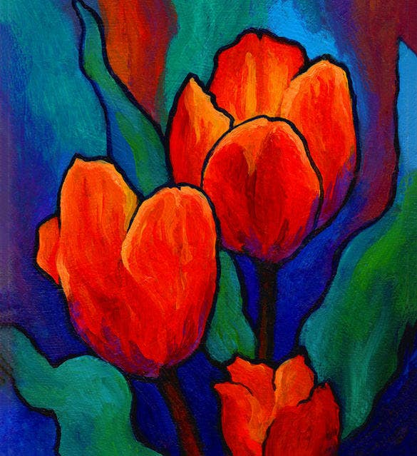 amazing tulip flower painting